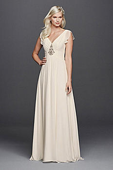 V-Neck Flutter Sleeve Embellished Wedding Dress JP341601