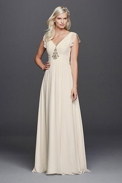 V-Neck Flutter Sleeve Embellished Wedding Dress   David\'s Bridal