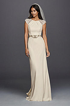 As-Is Cap Sleeved Crepe Sheath Wedding Dress AI34350008