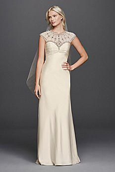 Illusion Cap Sleeve A-line Beaded Wedding Dress JP341609