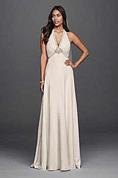 Petite Sheath Wedding Dress with Halter Neckline 7JP341611