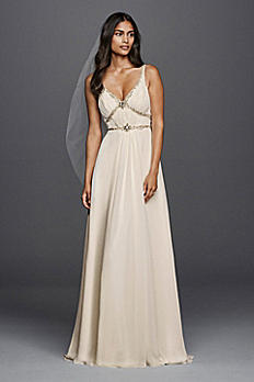 V-neck Chiffon Wedding Dress with Streamer Detail JP341612