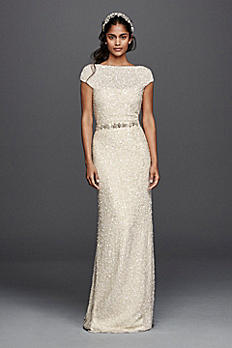 Hand Beaded Sheath Cap Sleeve Wedding Dress JP341616