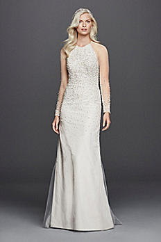 High Neck Illusion 3/4 Sleeve Wedding Dress JP341633