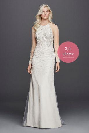 High Neck Illusion 3/4 Sleeve Wedding Dress   David\'s Bridal