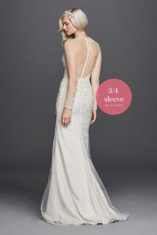 High Neck Illusion 3 4 Sleeve Wedding Dress David S Bridal