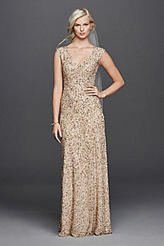 V-Neck Beaded Sheath Wedding Dress JP341662