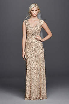 V-Neck Hand Beaded Sheath Wedding Dress