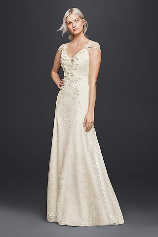 Jenny packham wedding dresses bridal gowns davids bridal wonder by jenny packham sheath v neck wedding dress junglespirit