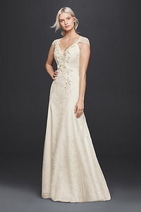 Sheath V-Neck Wedding Dress with Floral Applique   David\'s Bridal
