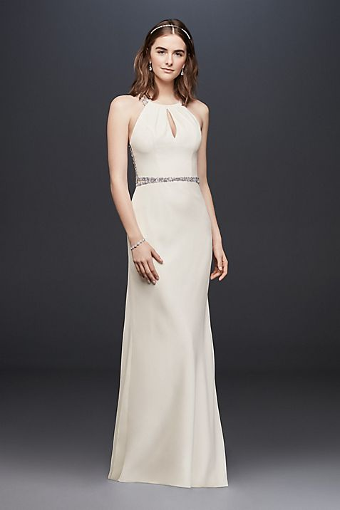 Crystal-Embellished Bias-Cut Crepe Wedding Dress | David\'s Bridal