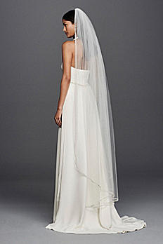 One Tier Mid Length Veil with Embellished Edge JP45V01