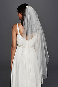 Mid Length Veil with Embellished Comb JP45V09