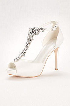 Crystal T-Strap Peep Toe High Heel JP650033