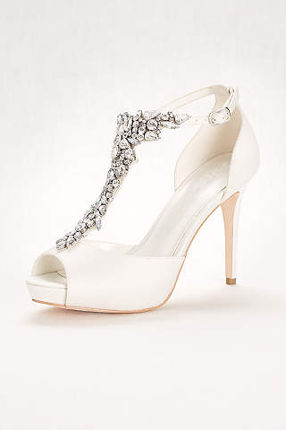 Wonder By Jenny Packham Ivory Peep Toe Shoes Crystal T Strap High