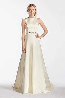 Long A-Line Simple Wedding Dress - Jewel