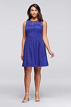Short Lace Plus Size Dress with Illusion Neckline JS6W8226