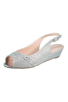 Blossom Beige Peep Toe Shoes (Rhinestone-Embellished Low Wedge Slingbacks)