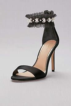Jewel Badgley Mischka Black Sandals (Satin High Heels with Embellished Ankle Strap)