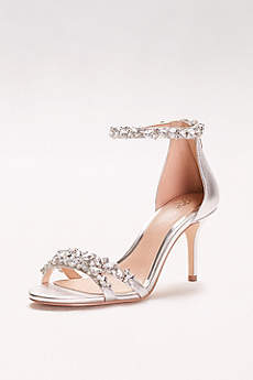 Jewel Badgley Mischka Grey Peep Toe Shoes (Crystal-Embellished Metallic Ankle Strap Heels)