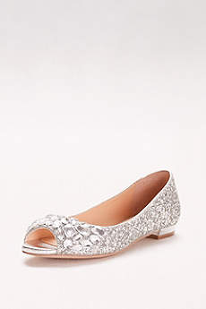 Jewel Badgley Mischka Grey Wedge Shoes (Glitter Peep-Toe Flats with Gem Embellishment)
