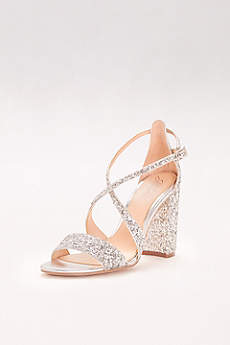 Jewel Badgley Mischka Grey Sandals (Textured Glitter Block-Heel Sandals)