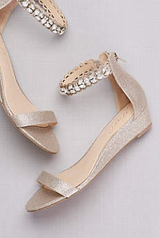 Glittery Low Wedge Sandals with Jeweled Ankle
