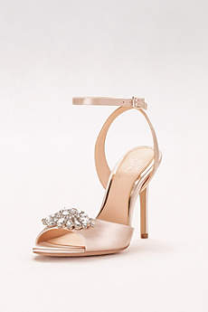 Jewel Badgley Mischka Ivory Peep Toe Shoes (Satin Ankle-Strap Heels with Crystal Ornament)