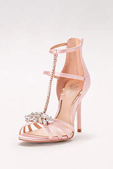 Jewel Badgley Mischka Pink Peep Toe Shoes (Strappy Satin T-Strap Heels with Crystals)