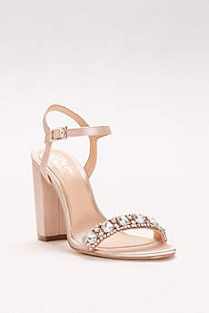 Jewel Badgley Mischka Ivory Sandals (Block Heel Sandal with Embellished Strap)