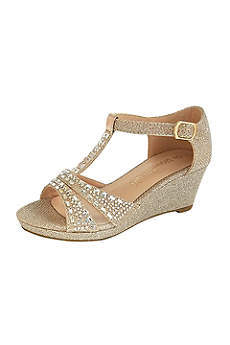 Blossom Grey Flowergirl Shoes (Girls Embellished T-Strap Wedges)