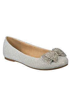 Blossom Grey Flowergirl Shoes (Girls Glitter Ballet Flats with Crystal Bow)