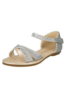 Blossom Beige Closed Toe Shoes (Girls Crystal Crisscross Quarter-Strap Sandals)