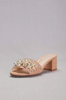 Qupid Pink Sandals (Pearl and Crystal Faux-Suede Block-Heel Mules)