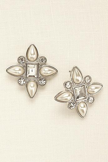 Emerald Cut Cluster Pearl Earrings KER112
