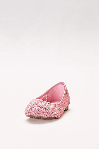 Flower girl shoes girls dress shoes davids bridal blossom pink flowergirl shoes girls corded lace ballet flats mightylinksfo Choice Image