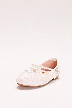 Girls Lace Mary Janes with Pearl Strap KHARPER47