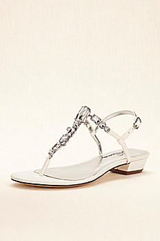 Touch of Nina Multi Stone T-strap Metallic Sandals KILEY