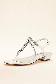 Touch of Nina Multi Stone T-strap Metallic Sandals