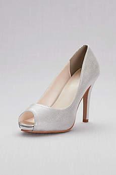 David's Bridal Grey Peep Toe Shoes (Shimmer Peep-Toe Platform Pumps)