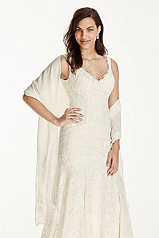 Chiffon Wrap with Lace Applique Border KP153