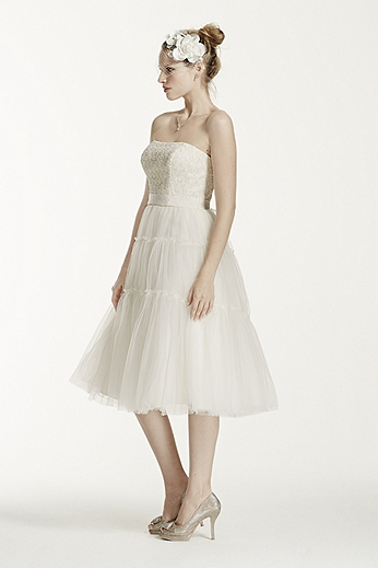 Strapless Tulle and Lace Tea Length Dress KP3701