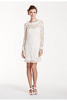 Long Sleeve Short Lace Gown with Pearl Beading KP3702