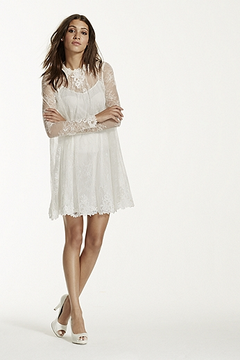 Lace Short Dress with Illusion Long Sleeves KP3703