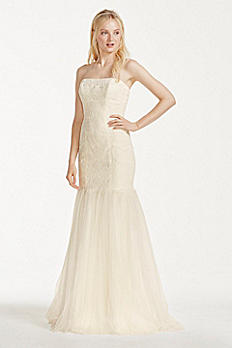 Extra Length Strapless Lace Dress with Tulle Skirt 4XLKP3765
