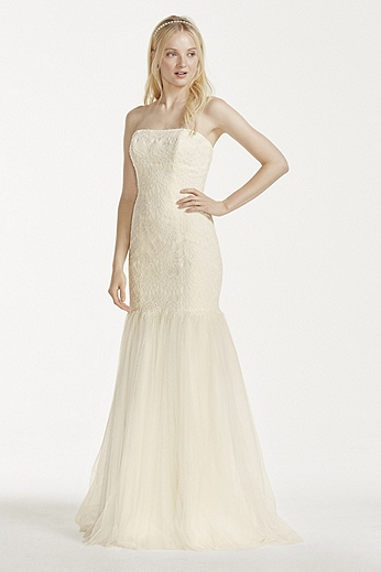 Strapless Lace Trumpet with Tulle Skirt KP3765