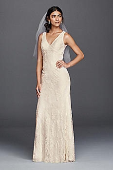 Flower Lace V-Neck Wedding Dress with Empire Waist KP3783