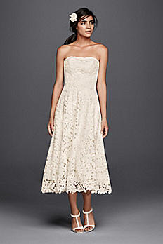 As-Is Floral Cutout Lace Tea Length Wedding Dress AI16010095