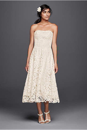 Mid-length ivory A-line strapless lace dress