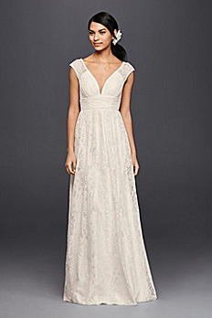 Lace Sheath Wedding Dress with Illusion Cap Sleeve KP3820